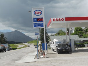 The road to Glacier from Canada.  Anyone out there old enough to remember when Exxon was Esso?  The price displayed is in liters.