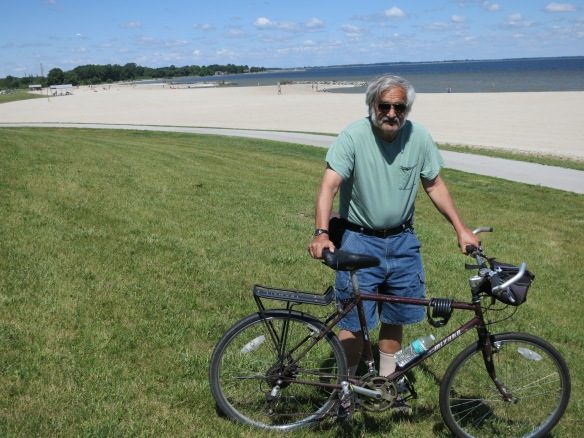 Terry holding bike